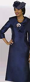 Lily and Taylor 4552-Navy - Basic Church Dress WIth Wide Over Shoulder Collar