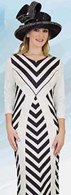 Lily and Taylor 4560 - Womens Dress With Chevron Pattern Design In Ponte Knit Fabric