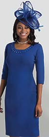 Lily and Taylor 633 - One Piece Knit Fabric Church Dress With Jewel Embellished Neckline