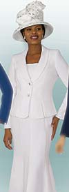 Lily and Taylor 2834-White - Poly Crepe Fabric Flared Skirt Suit With Shawl Lapel Jacket