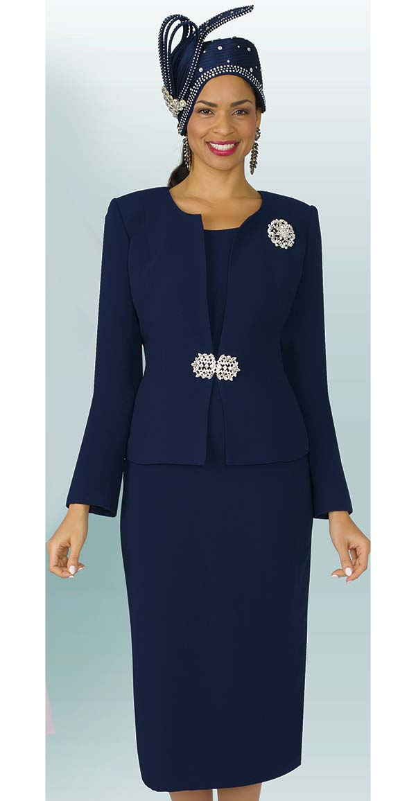 Lily and Taylor 3052-Navy - Womens Poly Crepe Classic Church Suit With Brooch
