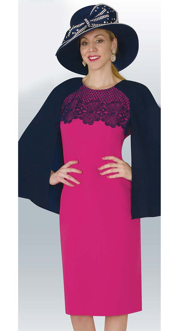 Lily and Taylor 4172 - Embroidery Adorned French Crepe Fabric Dress With Cape