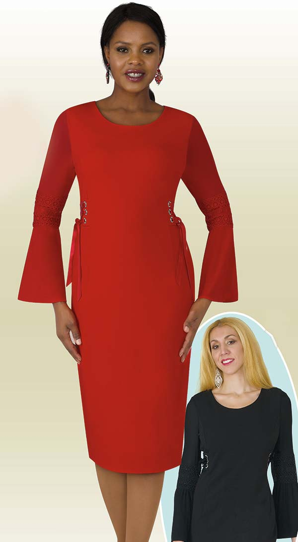 Lily and Taylor 4210 - Crepe Fabric Dress With Bell Sleeves