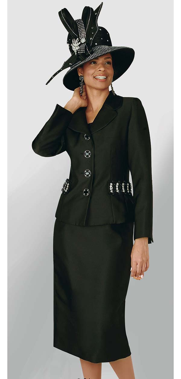 Lily and Taylor 4234-Silky Twill Fabric Skirt Set With Embellished Jacket