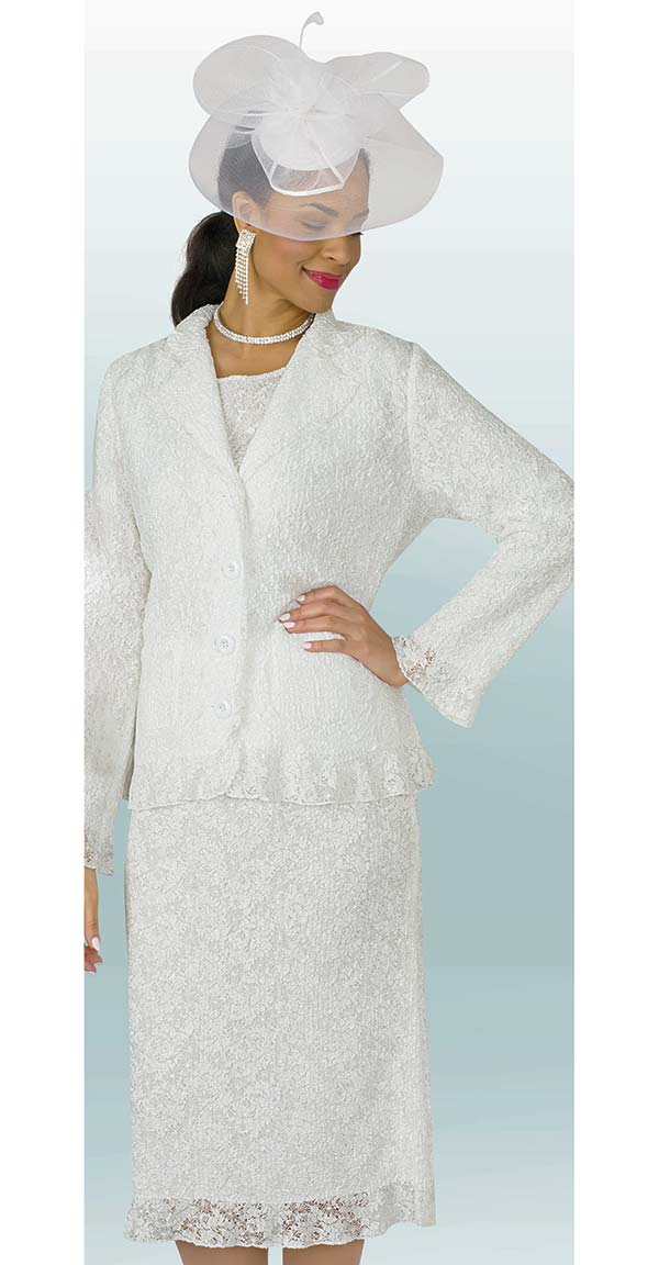 Lily and Taylor 4252 - Lacy Crinkle Fabric Design Skirt Outfit With Notch Lapels