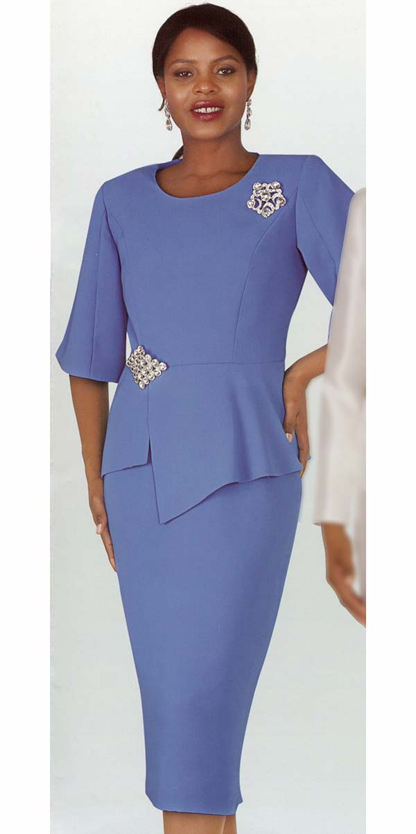 Lily and Taylor 4291 - Turquoise - Ladies French Crepe Fabric Church Suit With Asymmetric Design Jacket