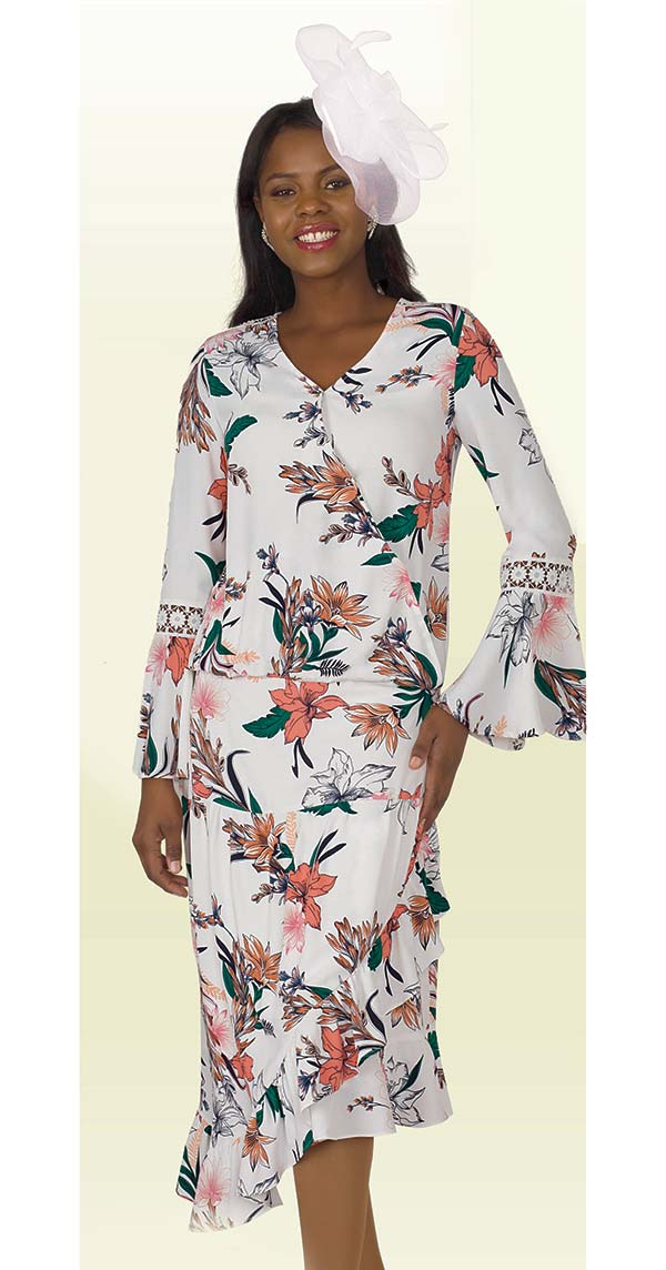 Lily and Taylor 4327 - Floral Print Chiffon Fabric Sundress With Bell Sleeve Design
