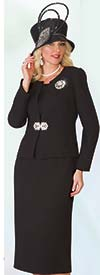 Lily and Taylor 3052-Black - Classic Three Piece Womens Church Suit With Brooch
