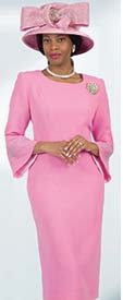 Lily and Taylor  4092-Pink - Rhinestone Embellished Dress In French Crepe Fabric With Bell Sleeves