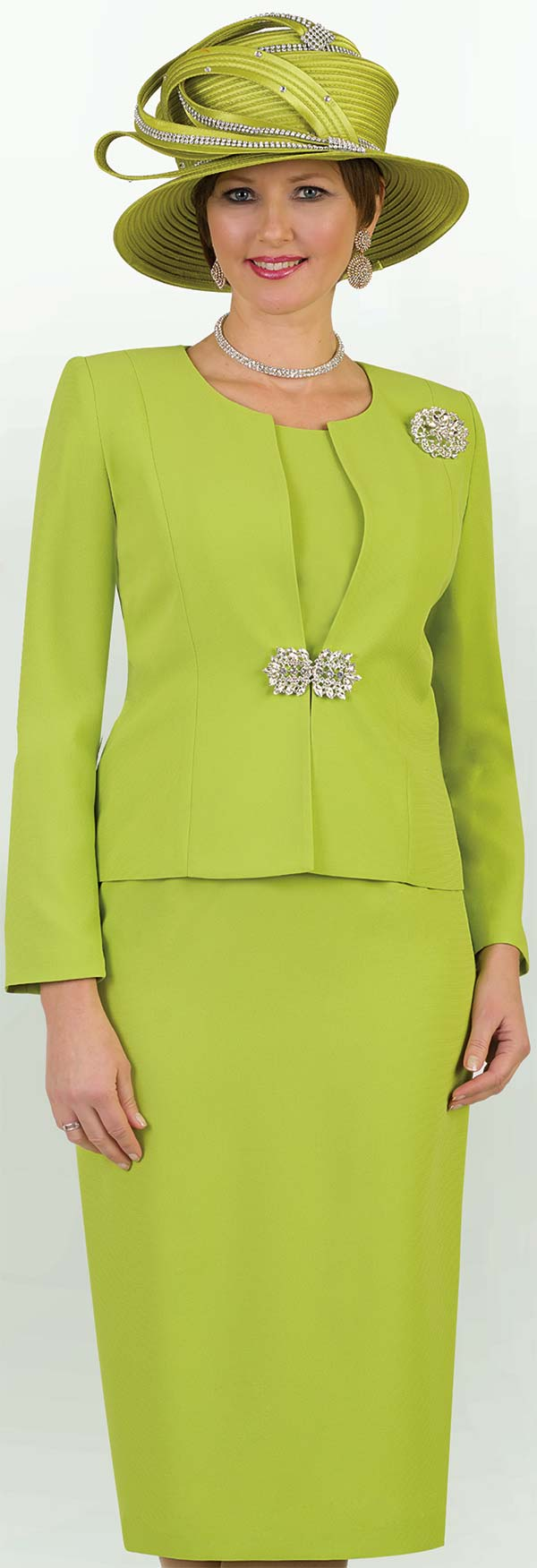 Lily and Taylor 3052-Lime Green - Womens Classic Three Piece Church Suit With Brooch