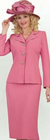 Lily and Taylor 3895 - Classic Womens Church Suit With Notch Lapel Jacket In French Crepe Fabric