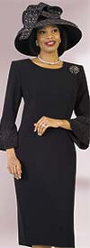 Lily and Taylor  4092-Black - Rhinestone Embellished Dress In French Crepe Fabric With Bell Sleeves