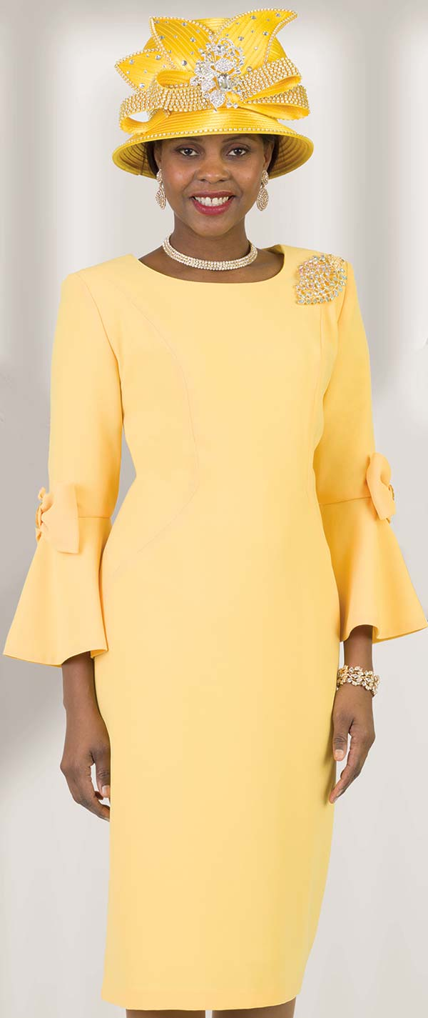 Lily and Taylor 4154-Yellow - Bow Adorned Bell Sleeve Sheath Dress With Brooch