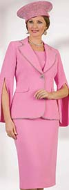 Lily and Taylor 4334-Pink - Womens Three Piece French Crepe Fabric Skirt Suit With Split Sleeves & Beaded Trim