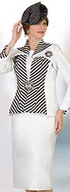 Lily and Taylor 4386 - Womens Three Piece Skirt Suit With Multi Stripe Pattern Design