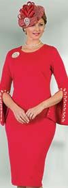 Lily and Taylor 4389-Red - Ponte Knit Womens Church Dress With Embellished Split Cuff Sleeves