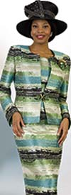 Lily and Taylor 4420 - Womens Church Suit With Horizontal Painted Stripe Design