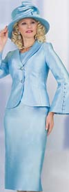 Lily and Taylor 4452-Ice Blue - Womens Skirt Suit With Shawl Lapel Flared Sleeve Jacket