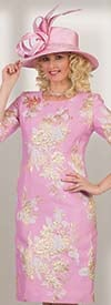 Lily and Taylor 4469-Rose/Multi - Novelty Floral Brocade Fabric Sheath Dress With Split & Buttoned Sleeves