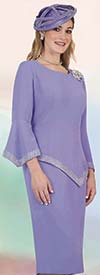 Lily and Taylor 4471-Lavender -  Rhinestone Trimmed Skirt Suit With Pointed Hem-Line Jacket & Sleeves