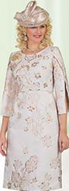 Lily and Taylor 4474 - Floral Print Basic Cut Church Dress With Split Sleeve Design