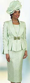 Lily and Taylor 4478-Lime -  Skirt Suit With Shawl Lapel Pleated Peplum Jacket Featuring Embellished Sleeve Design