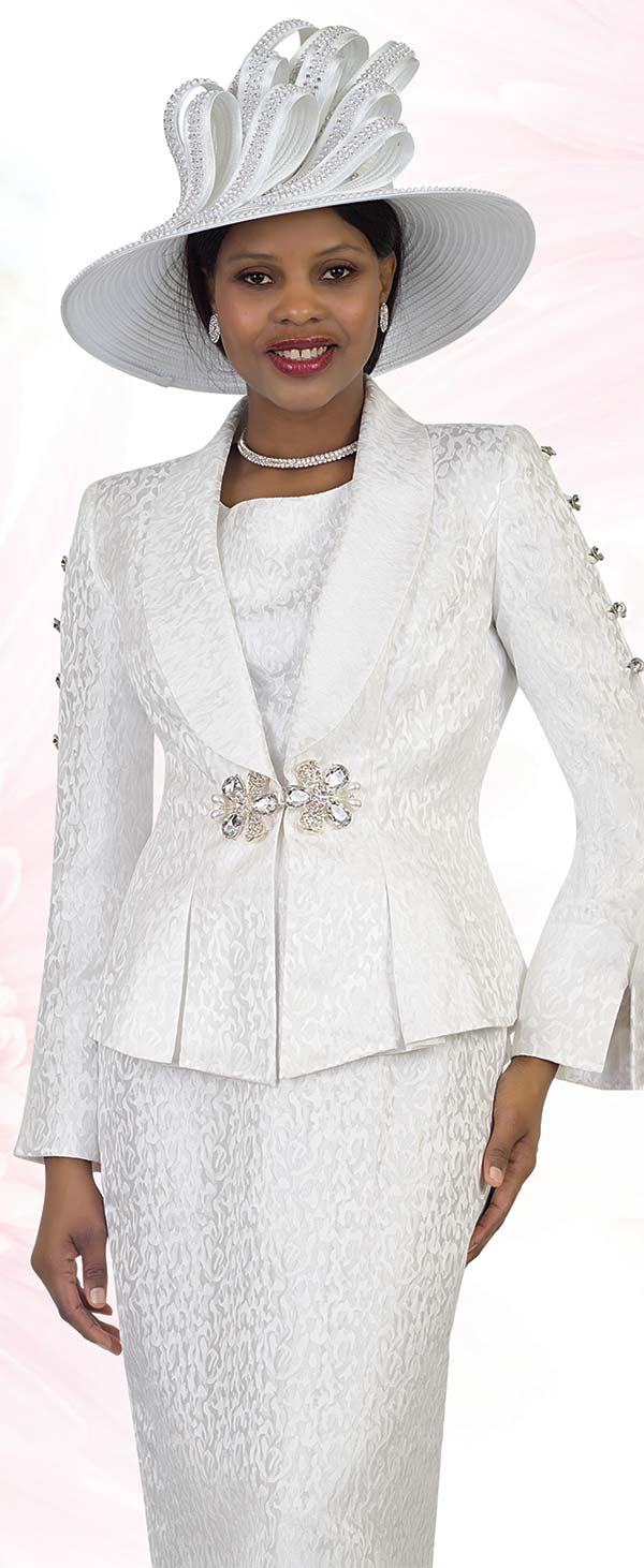 Lily and Taylor 4478-White -  Skirt Suit With Shawl Lapel Pleated Peplum Jacket Featuring Embellished Sleeve Design