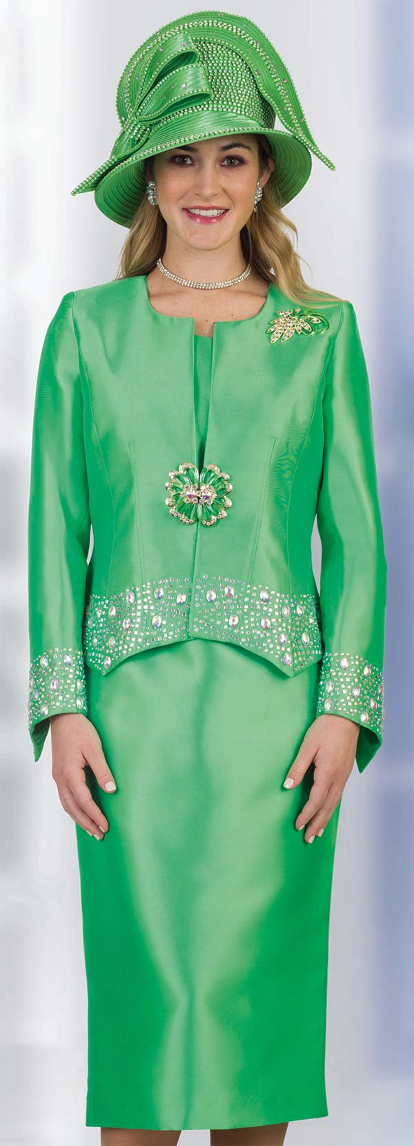 Lily and Taylor 4498 -  Silky Twill Skirt Suit With Jacket Trimmed In Rhinestones