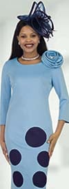 Lily and Taylor 4499 - Ponte Knit Fabric Polka Dot Print Dress