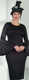 Lily and Taylor 4501-Black -  Embellished Wide Flounce Sleeve Dress