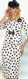 Lily and Taylor 4503-Ivory/Black- Three Piece Skirt Suit In Polka Dot Pattern Design