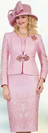 Lily and Taylor 4504-Pink -Three Piece Womens Church Suit With Embroidered Pattern Design
