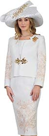 Lily and Taylor 4504-White / Gold -Three Piece Womens Church Suit With Embroidered Pattern Design