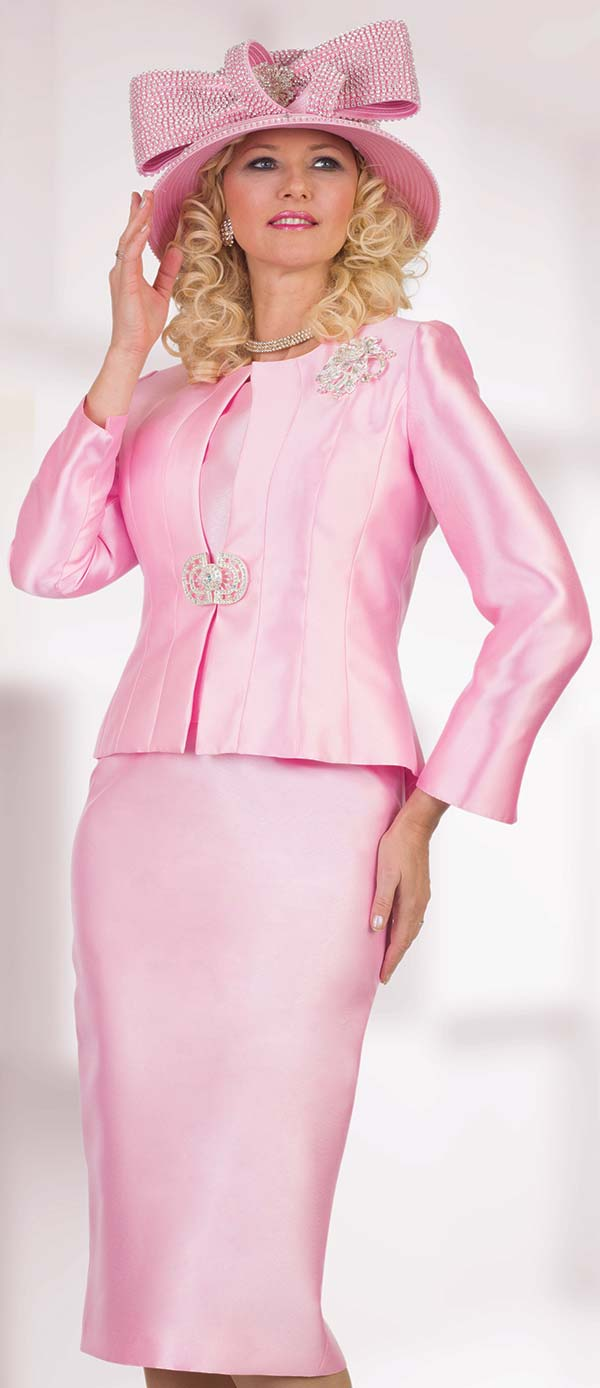 Lily and Taylor 4514-Pink - Silky Twill Womens Three Piece Church Suit With Brooch