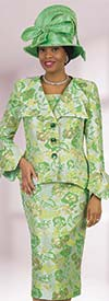 Lily and Taylor 4517 - Floral Print Layered Lapel & Flounce Cuff Jacket Skirt Suit