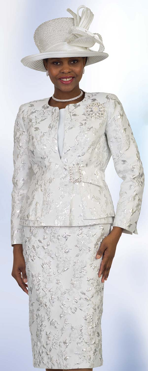 Lily and Taylor 4518 -  Floral Pattern Design Skirt Suit With Peplum Layer Jacket