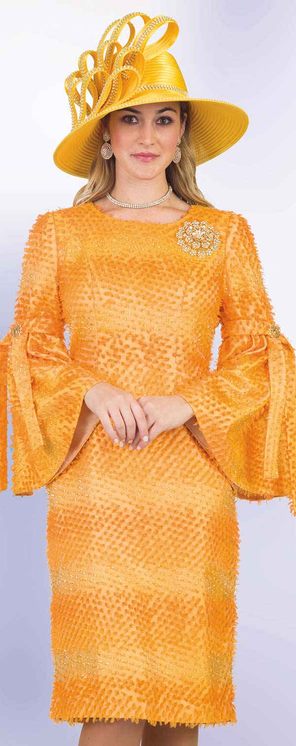 Lily and Taylor 4526-Orange - Striped Novelty Textured Fabric Sheath Dress With Bell Sleeves