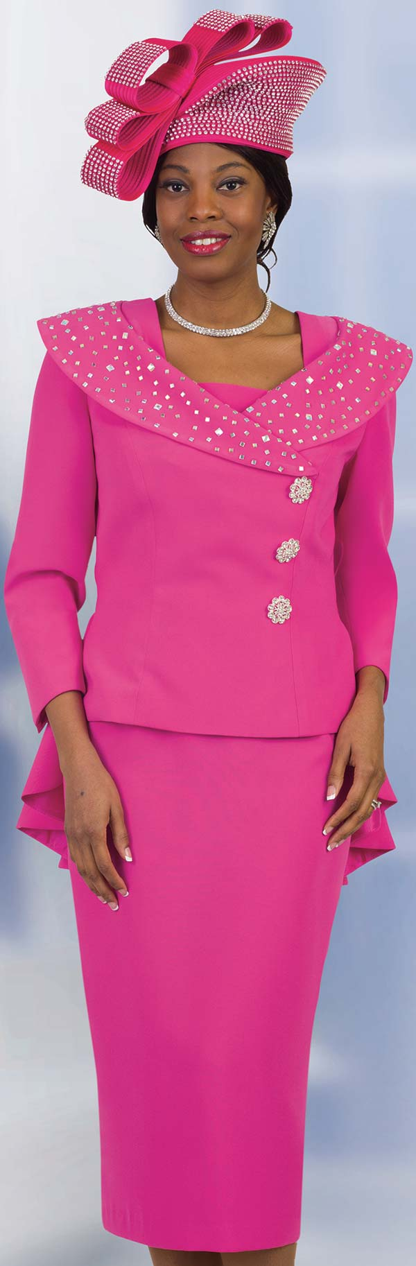 Lily and Taylor 4539 - French Crepe Fabric Ladies Skirt Suit With Portrait Collar Peplum Jacket