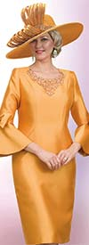 Lily and Taylor 4540 -  Ladies Church Dress With Elaborate Embellished Neckline And Bow Adorned Bell Cuff Sleeves