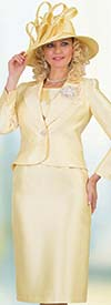 Lily and Taylor 4542-Canary -  Three Piece Womens Chuch Suit With Notch Lapel Jacket