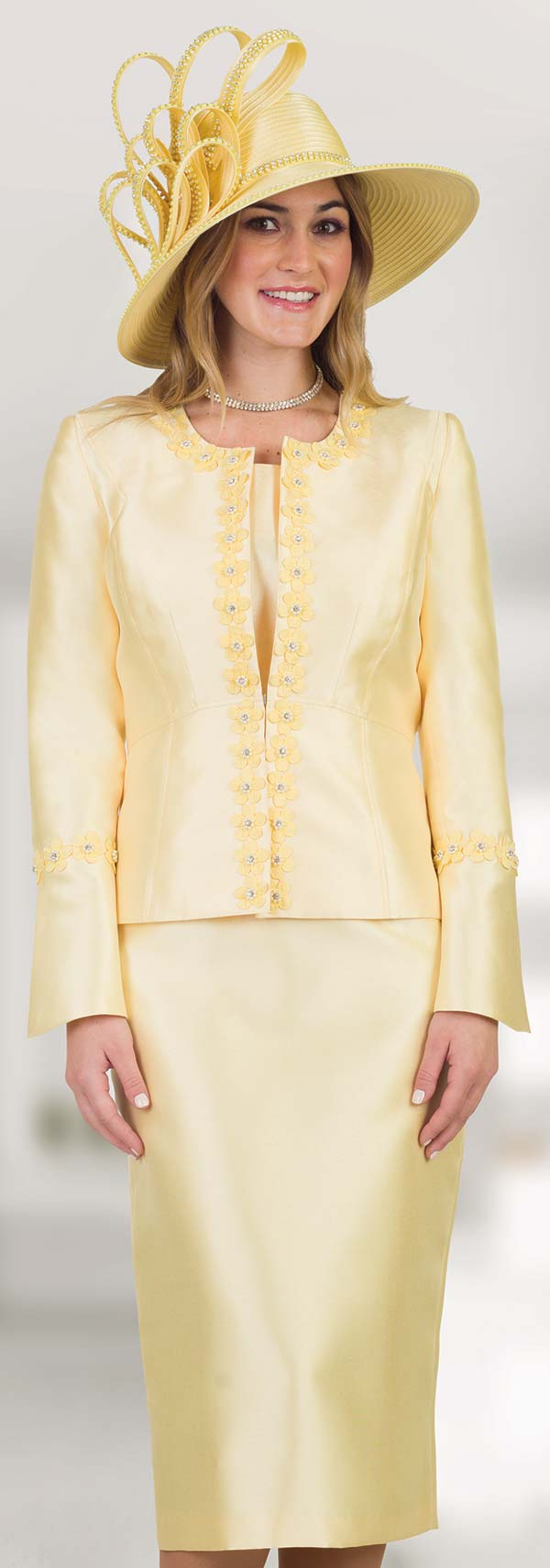 Lily and Taylor 4545 - Silky Twill Womens Church Suit With Flower Applique Trims
