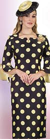 Lily and Taylor 4546 - Womens Polka Dot Church Dress With Pointed Square Neckline