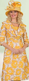 Lily and Taylor 4550-Yellow/Multi - Floral Print Rhinestone Embellished Church Dress With Over Shoulder Collar Design