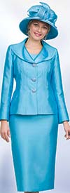 Lily and Taylor 4563 - Silky Twill Fabric Skirt Suit With Wide Lapel Jacket