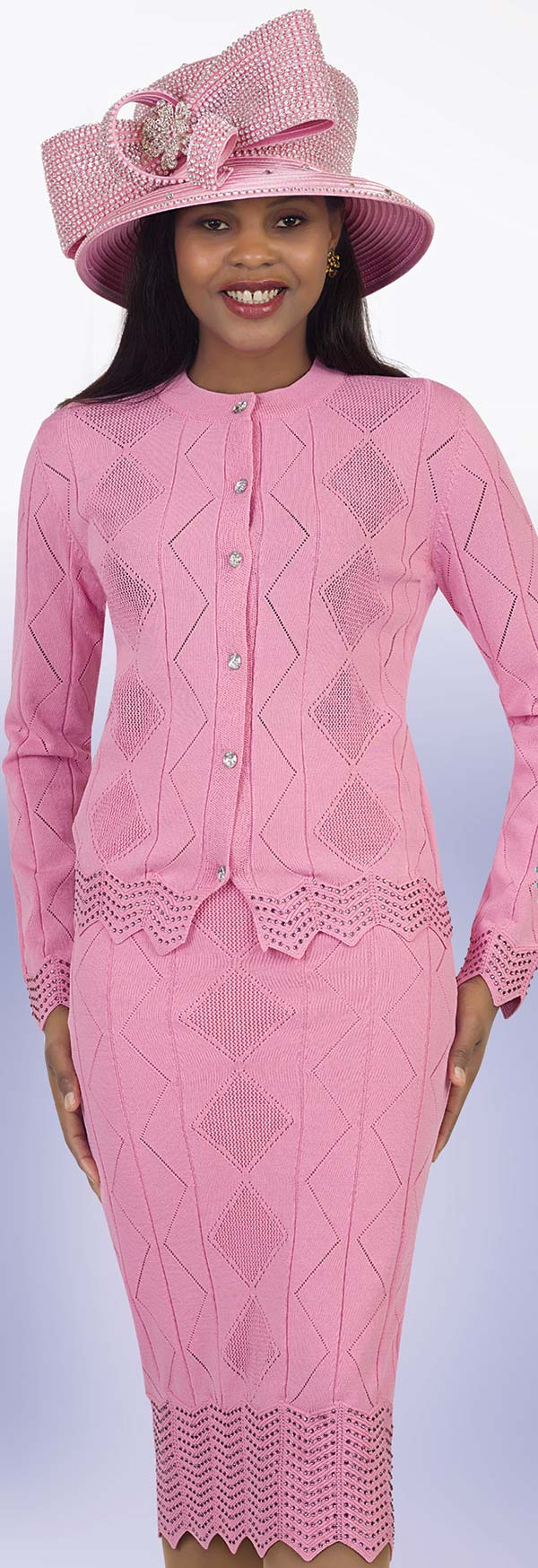 Lily and Taylor 674 - Embellished Knit Fabric Skirt Suit With Diamond Pattern Design