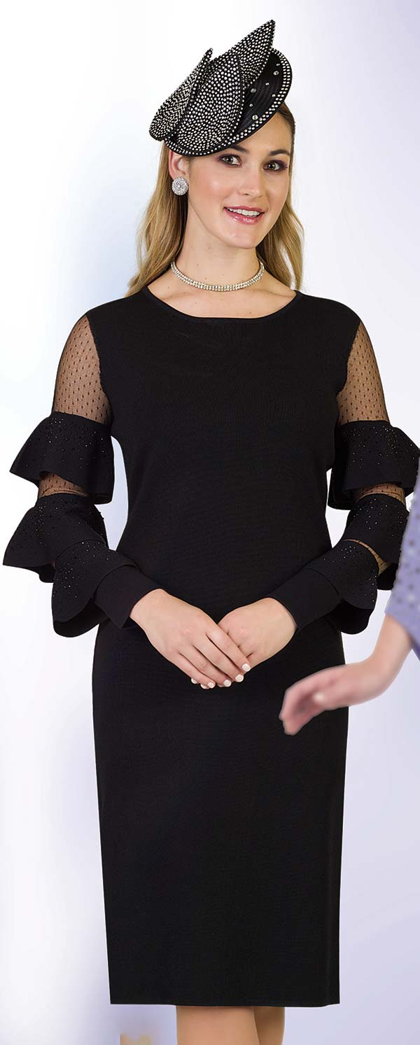 Lily and Taylor 677 - Knit Fabric Dress With Mesh & Triple Tier Flounce Sleeves