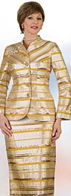 Lily and Taylor 4458 -  Womens Skirt Suit In Horizontal Stripe Design With Collarless Jacket