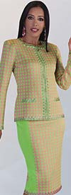 Liorah Knits 7139 - Rhinestone Embellished Houndstooth Pattern Knit Skirt Outfit