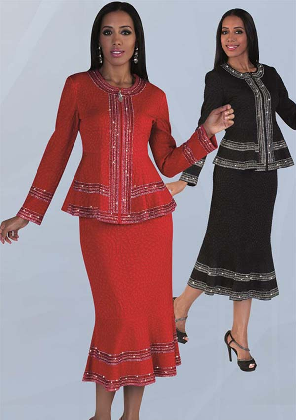 Liorah Knits 7216 - Flared Skirt Set With Rhinestone Embellished Details In Textured Knit Fabric