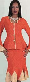 Liorah Knits 7225 - Knit Mermaid Skirt Set With Bell Sleeves & Fancy Neckline Design